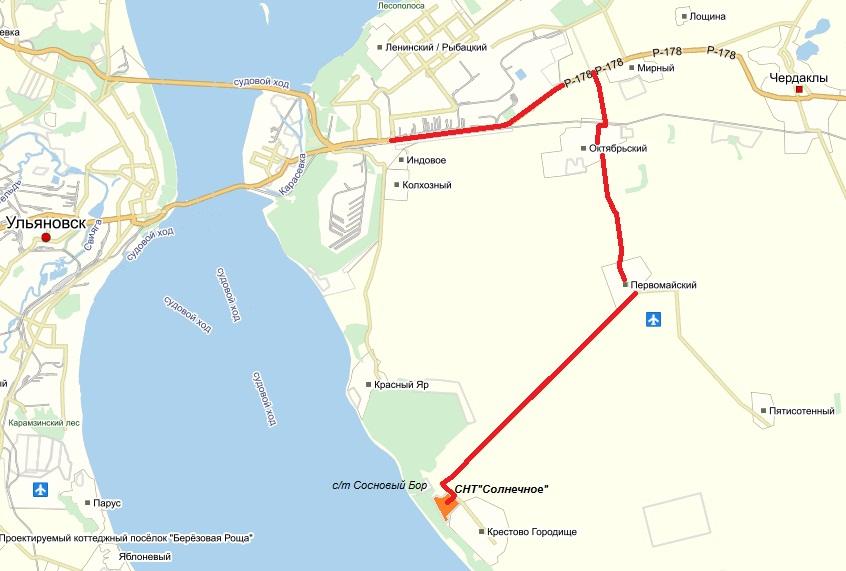 План проезда к СНТ Солнечное